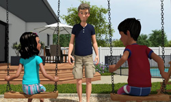 Virtual character CG babysitter course animation